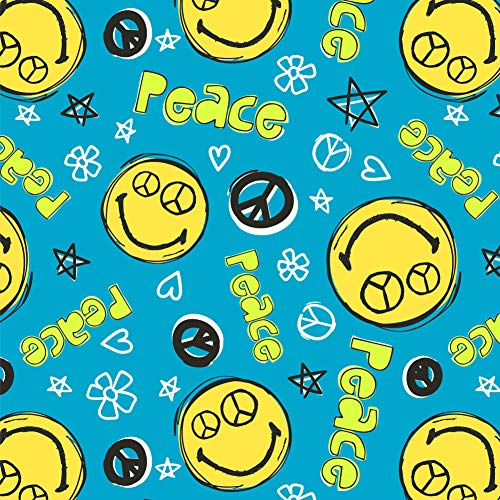 GRAPHICS & MORE Peace Eyes Smiley Face with Flowers and Stars Officially Licensed Premium Roll Gift Wrap Wrapping Paper