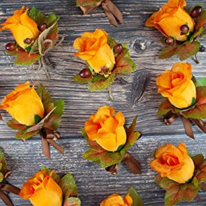 4 pcs Orange Silk Rose Boutonniere with Fall Maple Leaves - Autumn Wedding Flowers 4