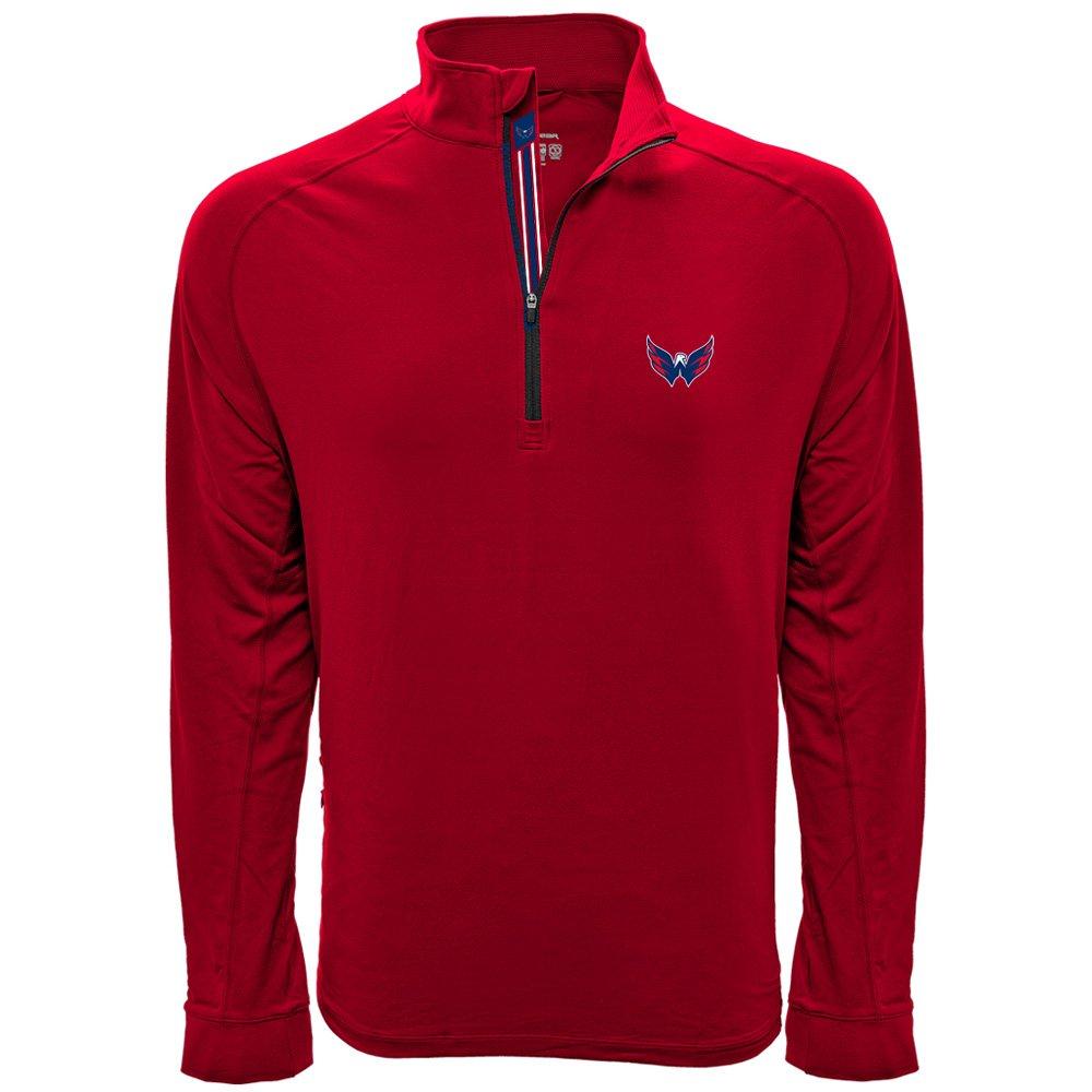 NHLメンズピークBanner Stripe Quarter Zipミッドレイヤージャケット B074RCW7QM Medium レッド(Flame Red) Washington Capitals レッド(Flame Red) Medium
