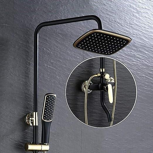 color negro Juego de ducha con efecto lluvia y alcachofa de ducha