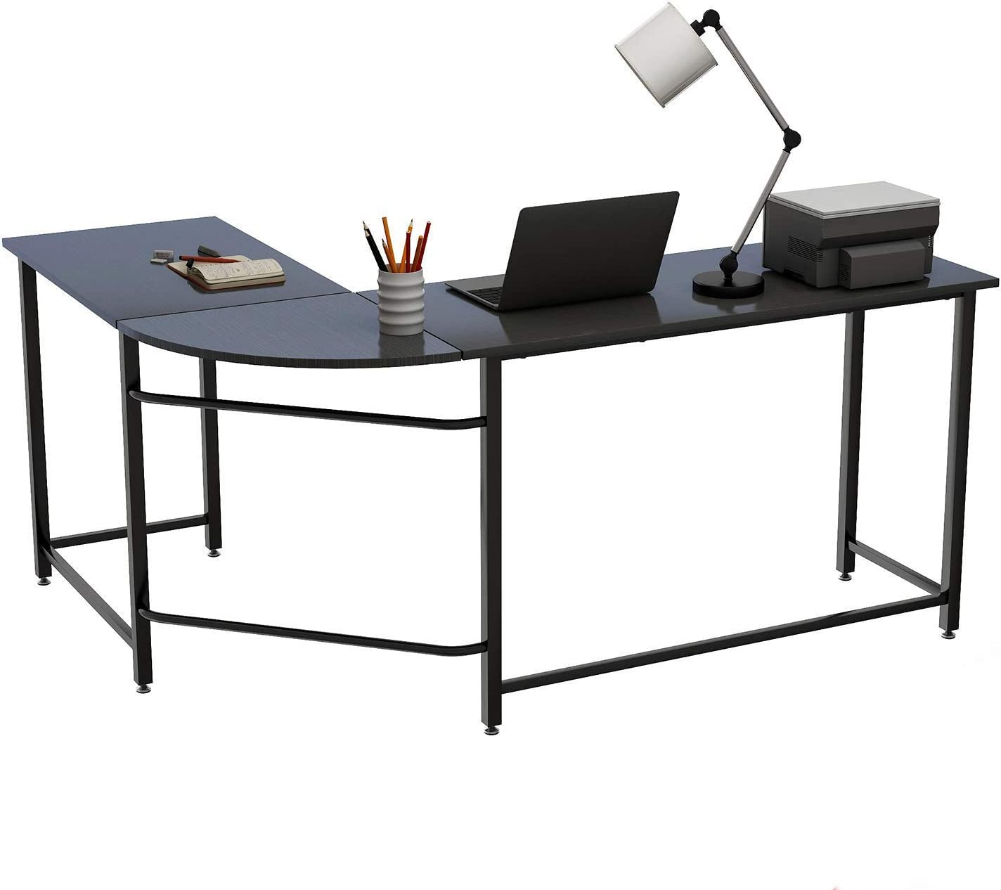 Home Office Desk, L-Shape Wood Metal Corner Gaming Table Workstation 66 x 49 with 19 Deep for PC Laptop Organizer, Black-a