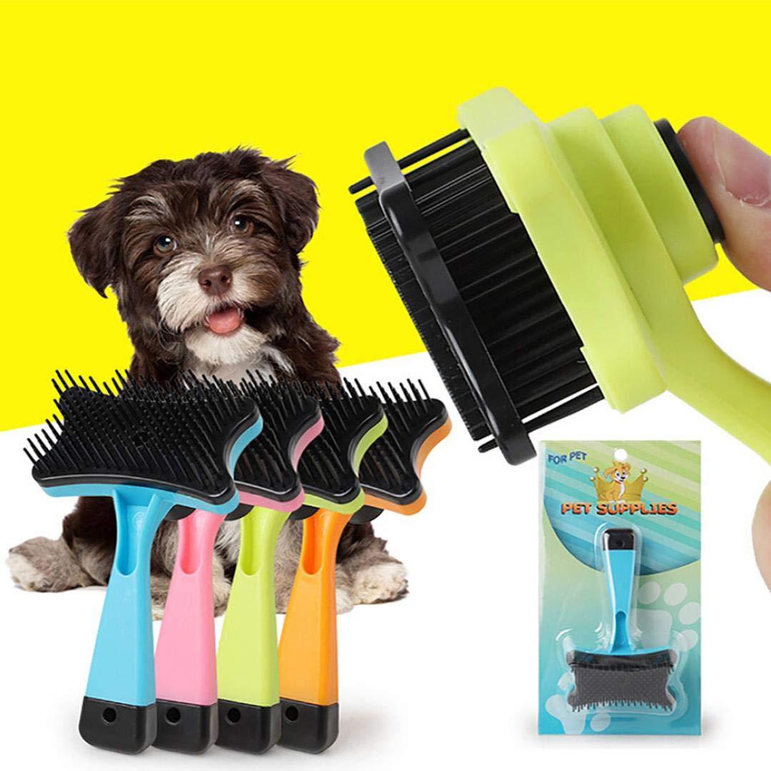 Self Cleaning Slicker Brush Pet, Dog Cat Hair Fur Shedding Trimmer Grooming Rake Comb Tool (Green)