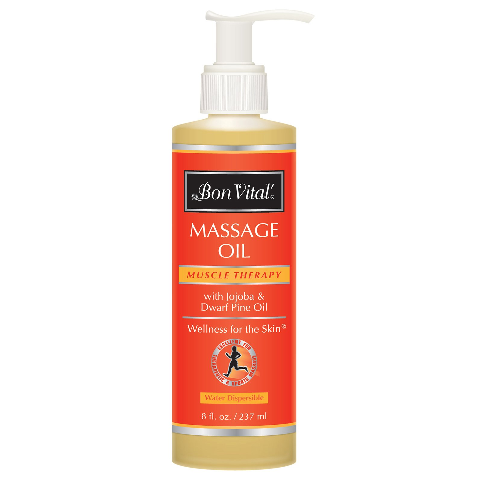 Bon Vital' Muscle Therapy Massage Oil Made with Dwarf Pine Oil & Essential Oils for a Relaxing Massage & Sore Muscle Relief, Can Be Combined with the IASTM and Graston Techniques, 8 Oz Bottle Pump