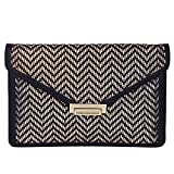 Metallic Laser Cut Envelope Party Clutch, Black