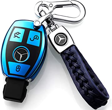 BLUE Mercedes Benz key shell cover case chain CLA CLS GLA GLC GLE GLS Class AMG