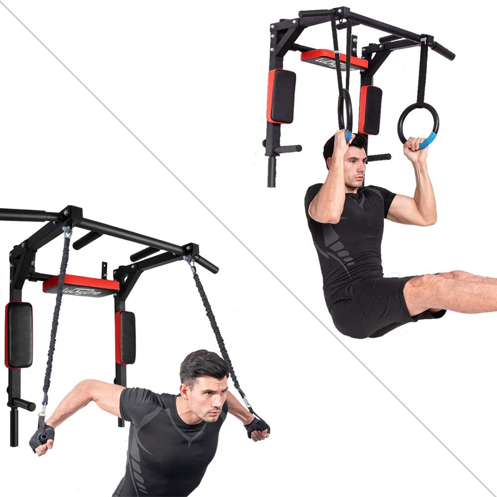 Support to 440Lbs Luckyone Multifunctional Wall Mounted Pull Up Bar//Chin Up bar,Dip Station for Home Gym,Indoor Workout