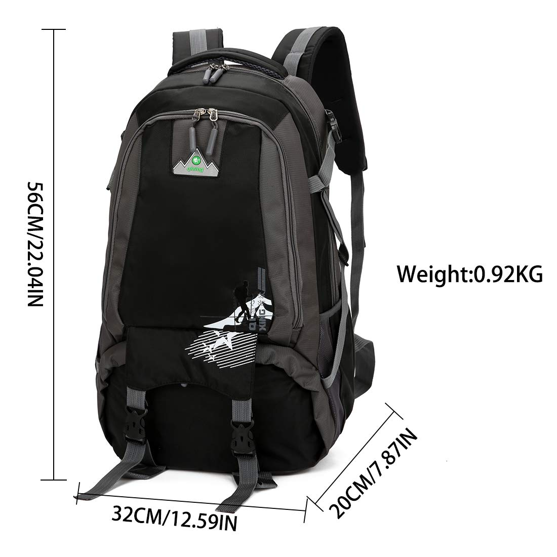 2cc89510c5 Amazon.com   Vanfrost 35L Travel Backpack - Outdoor Sport Water Resistant Camping  Hiking Climbing Cycling Mountaineering Fishing Daypack for Man (Black) ...
