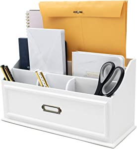 Kauma Mail Organizer Sorter for Kitchen Countertop Desk - Classic White Country Style - Wood Letter Holder Box for Home or Office Desktop Organizer - Sort Letters, Magazines, Bubble Mailers, Envelopes