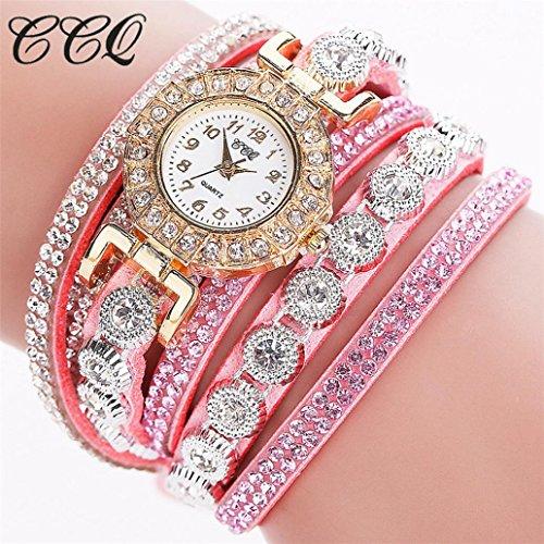 n Casual Analog Quartz Women Rhinestone Watch Bracelet Watch Circle Bracelet Watch Watch (Pink) ()
