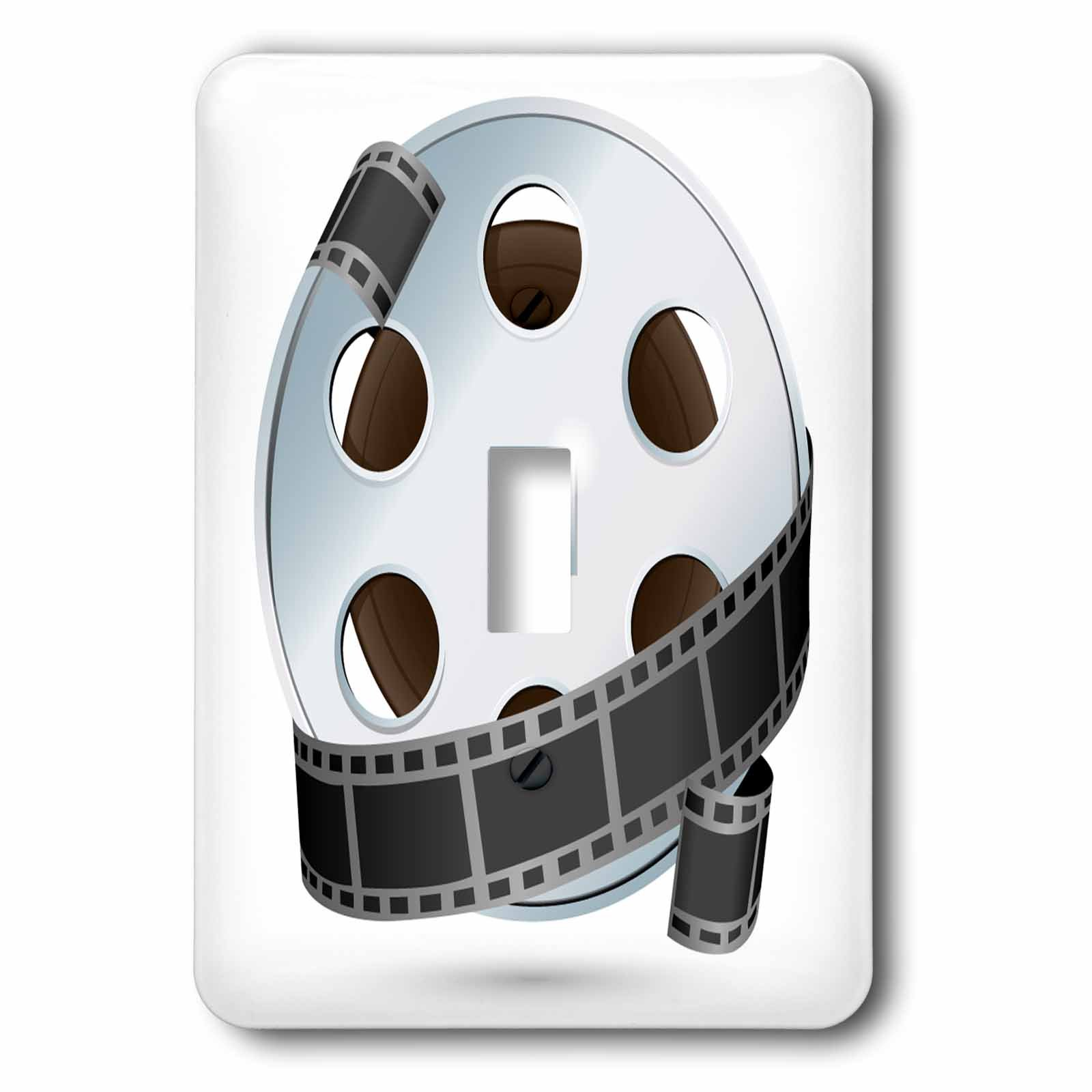 3dRose lsp_159179_1 A Silver and Black Movie Reel Single Toggle Switch