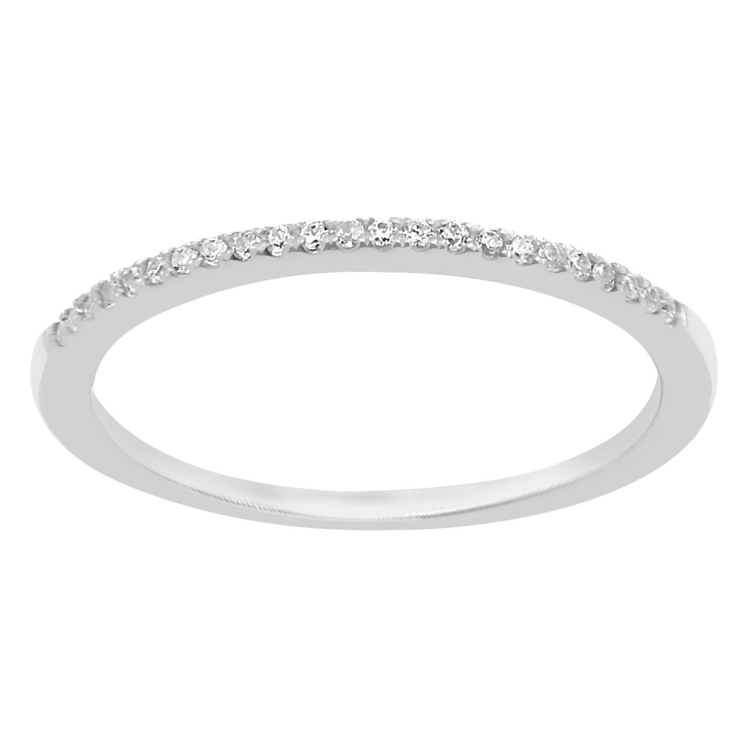 0.08 cttw 14k White Gold Round Diamond Ladies Dainty Anniversary Wedding Band Stackable Ring