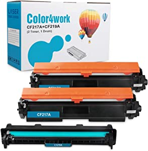 Color4work Compatible Replacement for HP 17A CF217A Toner Cartridge 2 Pack and HP 19A CF219A Drum Unit 1 Pack for HP Laserjet Pro M102 M102w, MFP M130 M130fn M130fw M130fn Printer