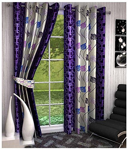 Super India Floral 2 Piece Eyelet Polyester Window Curtain Set – 5ft , Purple