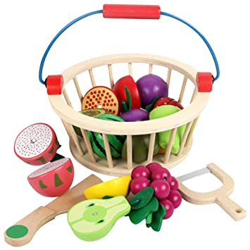fd13c317018b2 LVPY 12 piece Play Food Cutting Vegetables Set for Kids Pretend Role Play