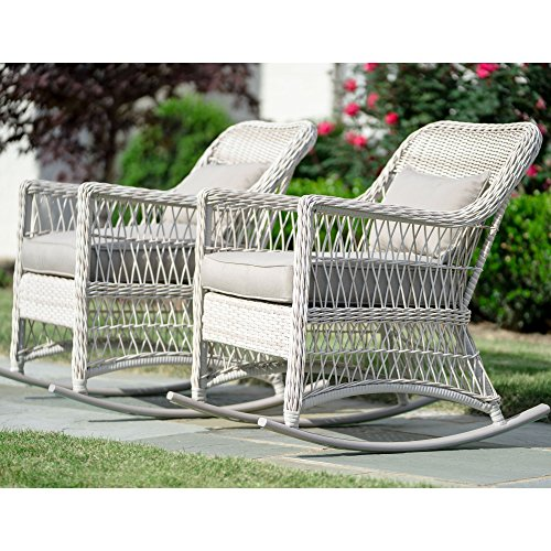 Leisure Made Pearson Outdoor Rocking Chairs, Antique White – 2 Pack For Sale