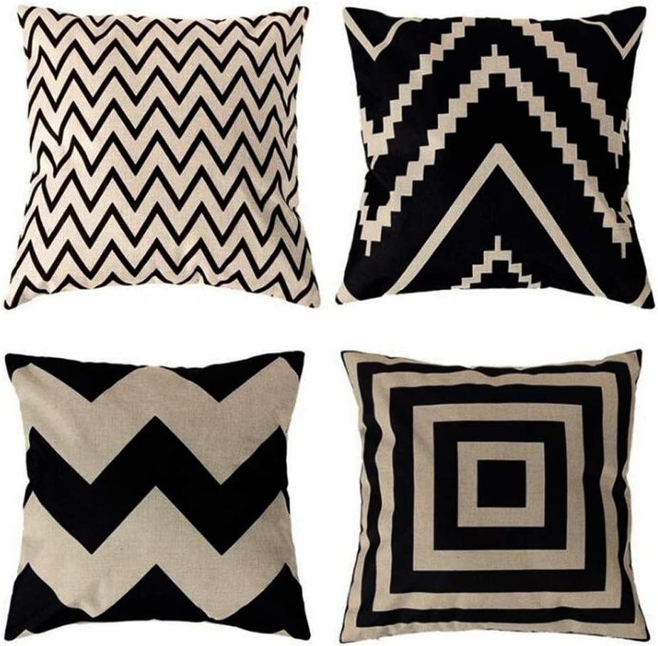 ULOVE LOVE YOURSELF Square Decorative Throw Pillows Cushion Covers Cotton Linen Black& Beige Stripes Modern Geometry Print Home Pillowcases 18 X 18 Inch,4 Pack(Stripe -1)