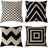 Square Decorative Throw Pillows Cushion Covers U-LOVE Cotton Linen Black and Beige modern geometry Print Home Pillowcases 18 X 18 Inch ,4 pack(Stripe -1)