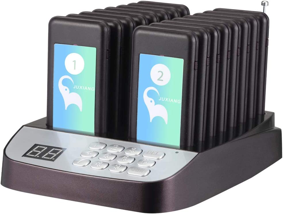 Restaurant Call Coaster Pagers,Portable Guest Waiting Wireless Calling System with 16 Units Coaster Pagers for Food Court Restaurant Clinic Church Cafe Shop (Type 16)