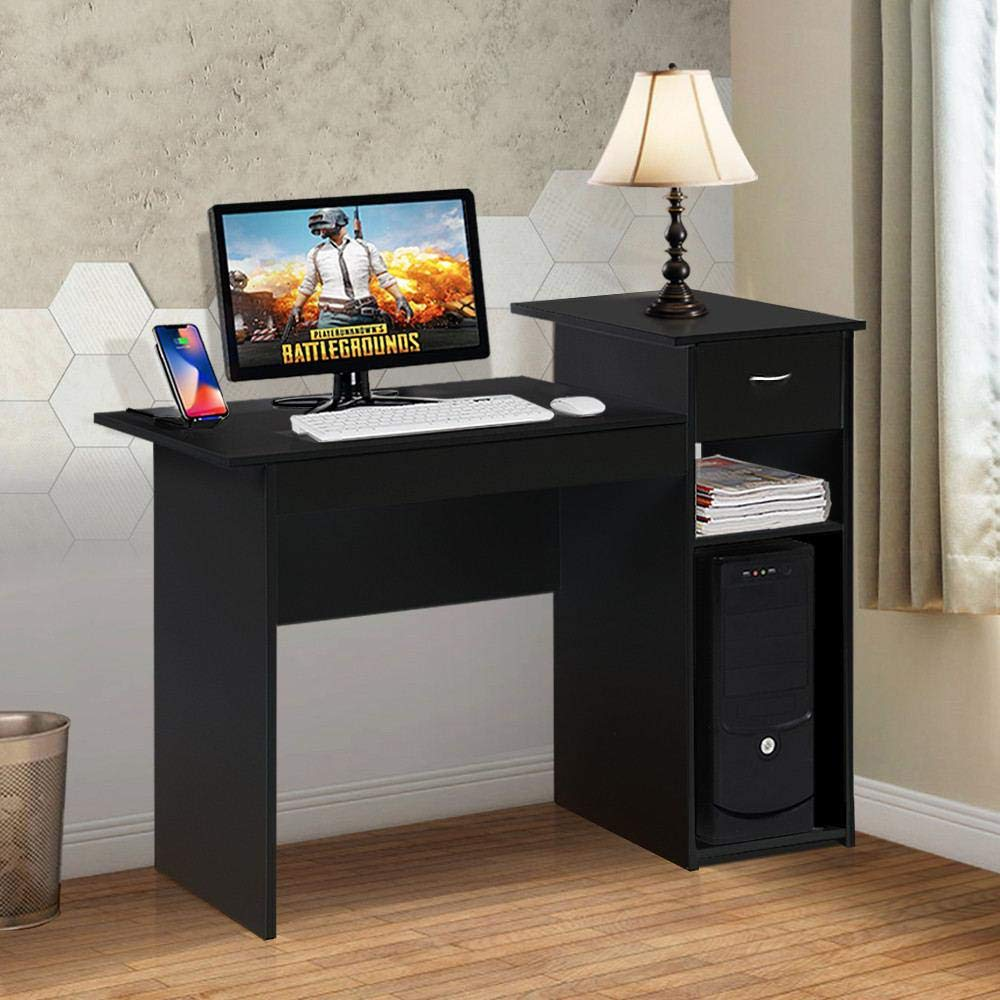 Topeakmart Modern Compact Computer Desk Study Writing Table Workstation with Drawers and Printer Shelf for Small Spaces Home Office Furniture by Topeakmart