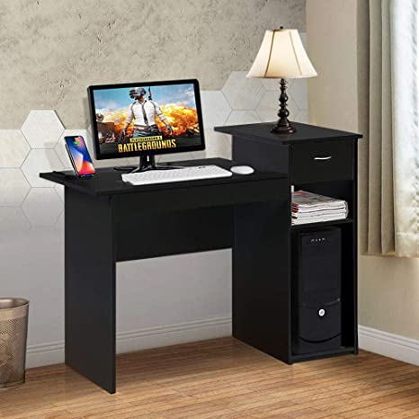 quality design dfd6d 7ecfa Topeakmart Modern Compact Computer Desk Study Writing Table Workstation  with Drawers and Printer Shelf for Small Spaces Home Office Furniture
