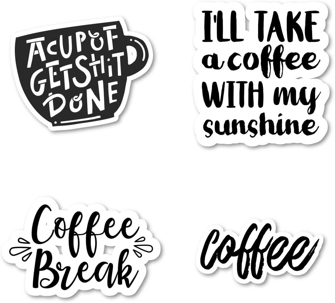 cute coffee waterproof sticker and decals for laptop and water bottles Coffee Stickers Pack I love coffee pack