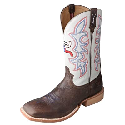 Twisted X Men's White Hooey Cowboy Boot Square Toe Brown 8.5 D(M) US: Sports & Outdoors