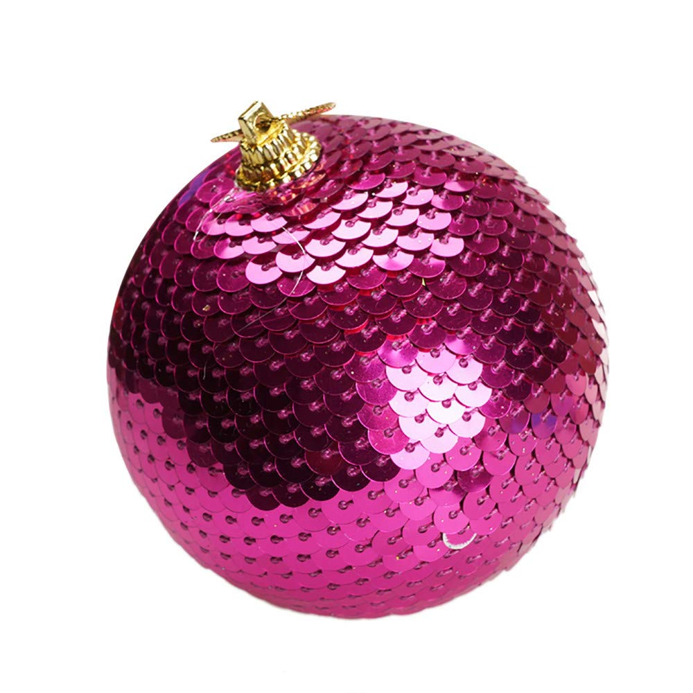 Christmas Sequin Glitter Baubles Balls Xmas Tree Ornament Decoration 8CM Christmas Ball Balls Ornaments Balloons (Hot Pink)