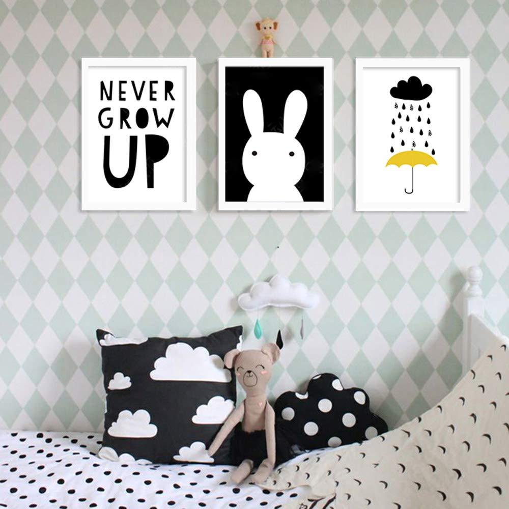 Nordic Ideas Lot de 2 Poster pour Enfant Tableau Cadeau Bebe Impression sur Toile Murale Chambre Decor Scandinave PTFL001-S