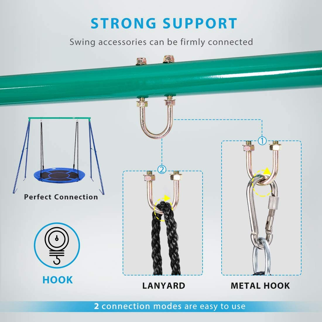 Swing Not Included Hold up to 440 lbs VIVOHOME Metal Swing Frame Full Steel Stand for Kids and Adult Fit Most Swings