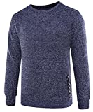 Papijam Mens Round Neck Knitted Long Sleeve Comfort Slim Pullover Sweater Royal Blue L
