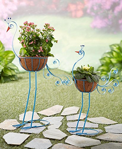 The Lakeside Collection Set of 2 Bird Planters Peacock ()