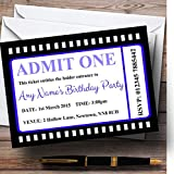 Movie Ticket Blue Personalized Birthday Party Invitations