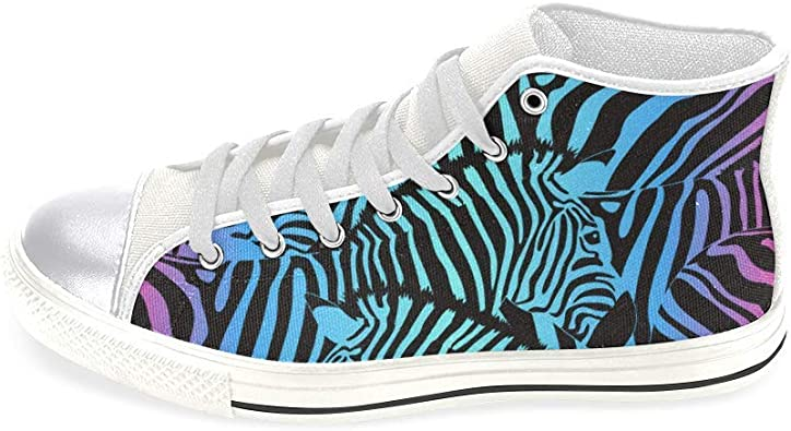 INTERESTPRINT Womens Lace Up Canvas Shoes Girls Zebra Print Slip On Casual Sneakers