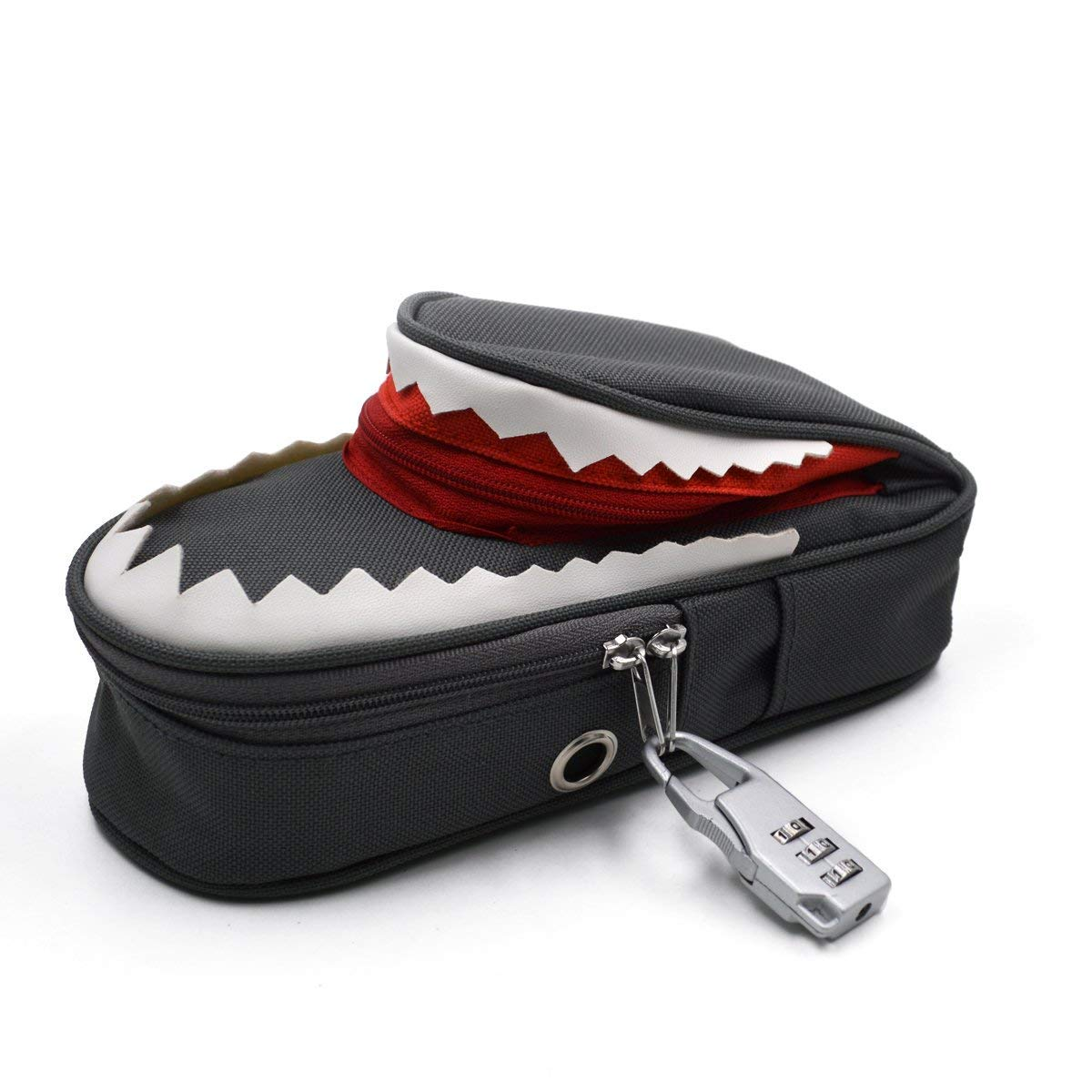 Creative 3D Shark Pencil Case Multi-Functional Cute Cartoon Animal School Stationery Supplies Organizers Large Capacity Pen Bag Pouch Holder Makeup Cosmetic Storage Bag with Code Lock (Grey)