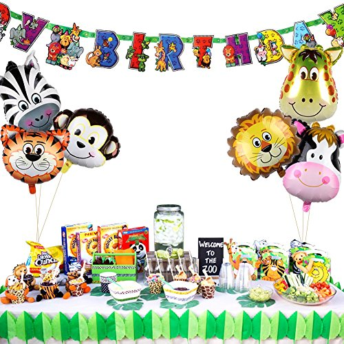 PartyTalk 6pcs Jungle Safari Animal Balloons with Zoo Animal Happy Birthday Banner, Safari Zoo Animals Party Supplies for Jungle Birthday Party Baby Shower Decorations