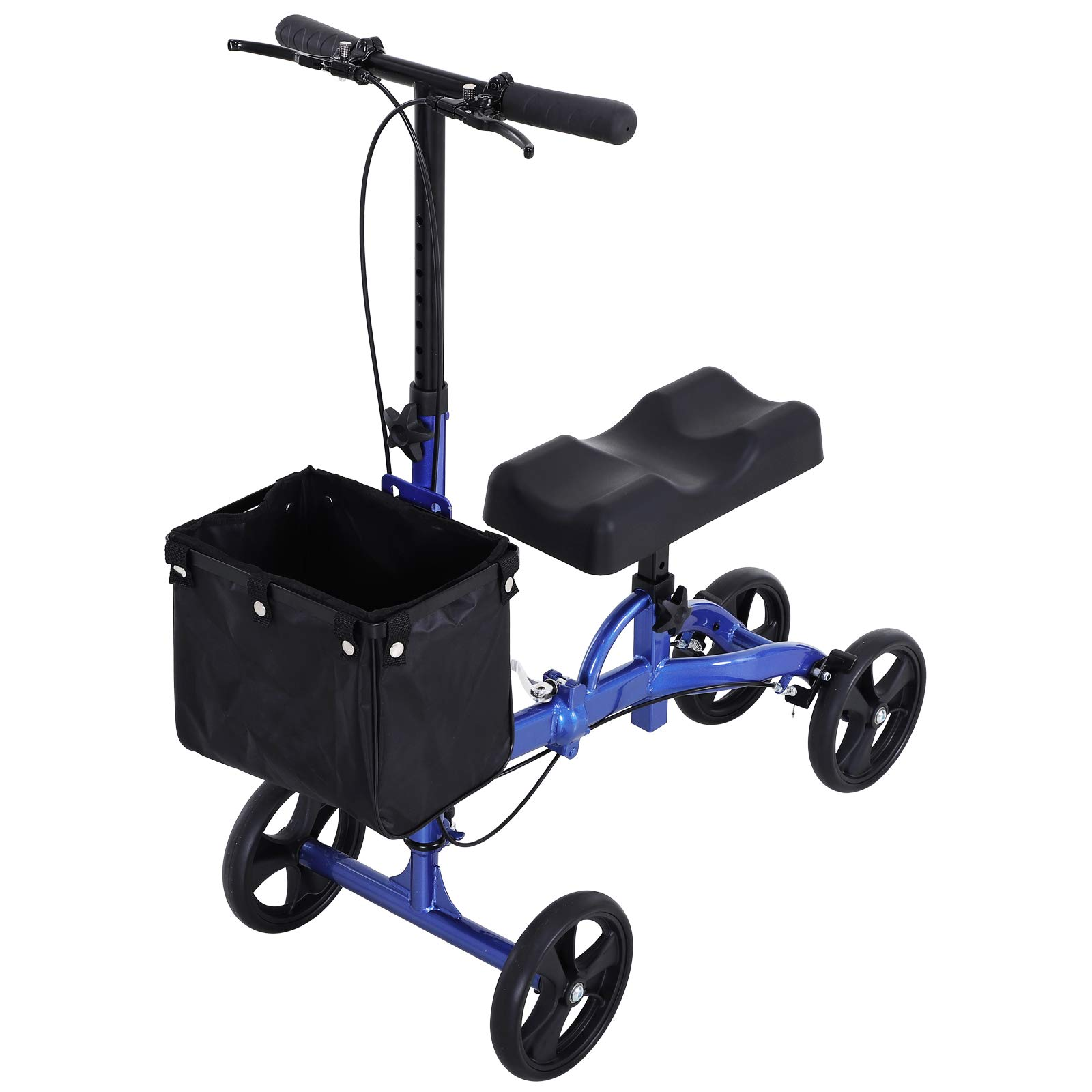 HOMCOM Medical Foldable Steerable Leg Knee Walker Scooter with Basket Attachment - Blue by HOMCOM