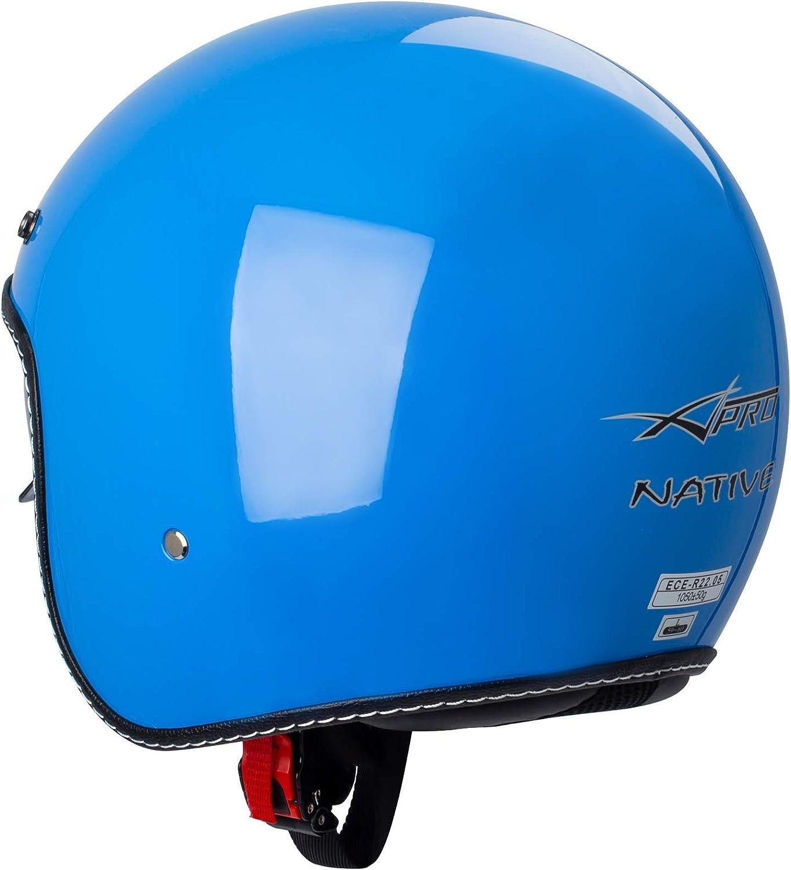 Casque Moto Jet Cafe Racer Homologu/é ECE 22-05 Scooter Custom Fluo XL