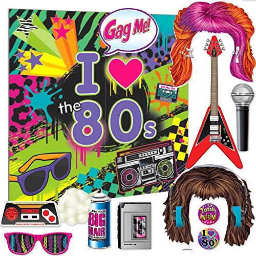 Curated Nirvana I Love the 80s Photo Prop and Background Bundle | 1 Large Background, 11 Double-Sided Props | Great for Themed Parties for Birthday, Work Events, Halloween, Prom, School Events -