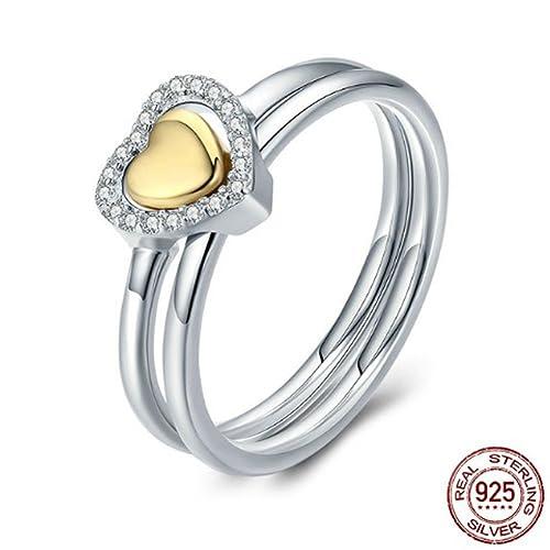 Amazon.com: FJT - Joyería para mujer, anillo de compromiso ...