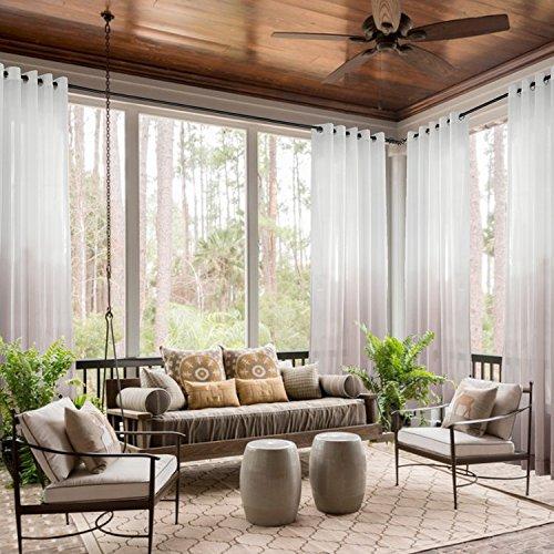 "Grommet Top Sheer Curtains Indoor Outdoor Gradient Ombre for Living Room | Bedroom | Kidsroom | Classroom| Hotel - Taupe 100"" W x 84"" L (1 Panel) Cololeaf"