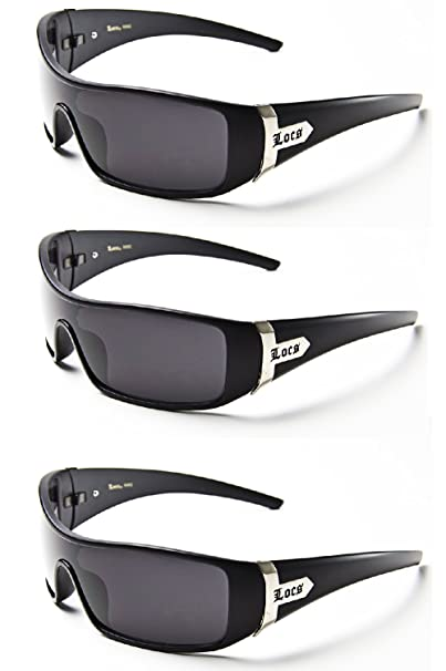 620664d72d Image Unavailable. Image not available for. Color  LOCS SHADES sunglasses  mens Eazy E gangster (3 Pack - Black ...