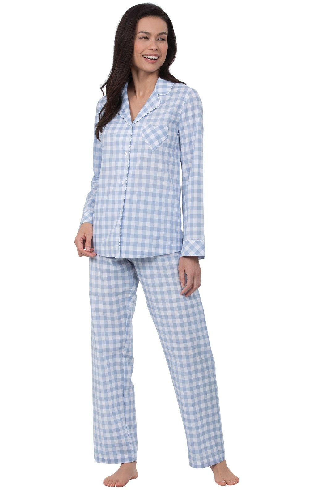 PajamaGram Pajamas for Women Cotton - Womens Plaid Pajamas, Blue, L, 12-14