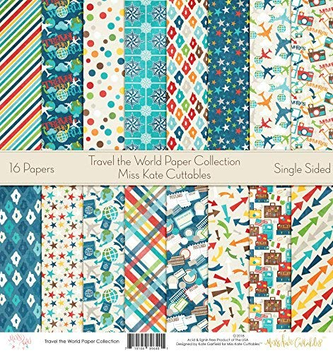 Pattern Paper Pack - Travel The World - Scrapbook Specialty Paper Single-Sided 12