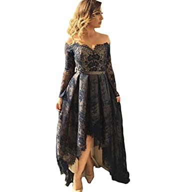 Yuxin Black Off Shoulder Lace Prom Dresses Long Sleeves High Low Plus Size Formal Evening Party