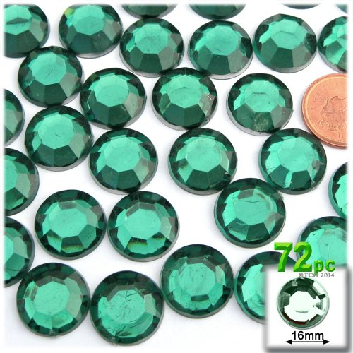 The Crafts Outlet 72-Piece Flatback Round Rhinestones, 16mm, Emerald Green