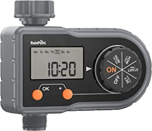 RAINPOINT Sprinkler Timer Programmable Hose Timer, Digital Water Timer Single Outlet with 3 Separate Watering Programs, Auto & Manual Mode, Ideal for Garden and Lawn, Battery Operated
