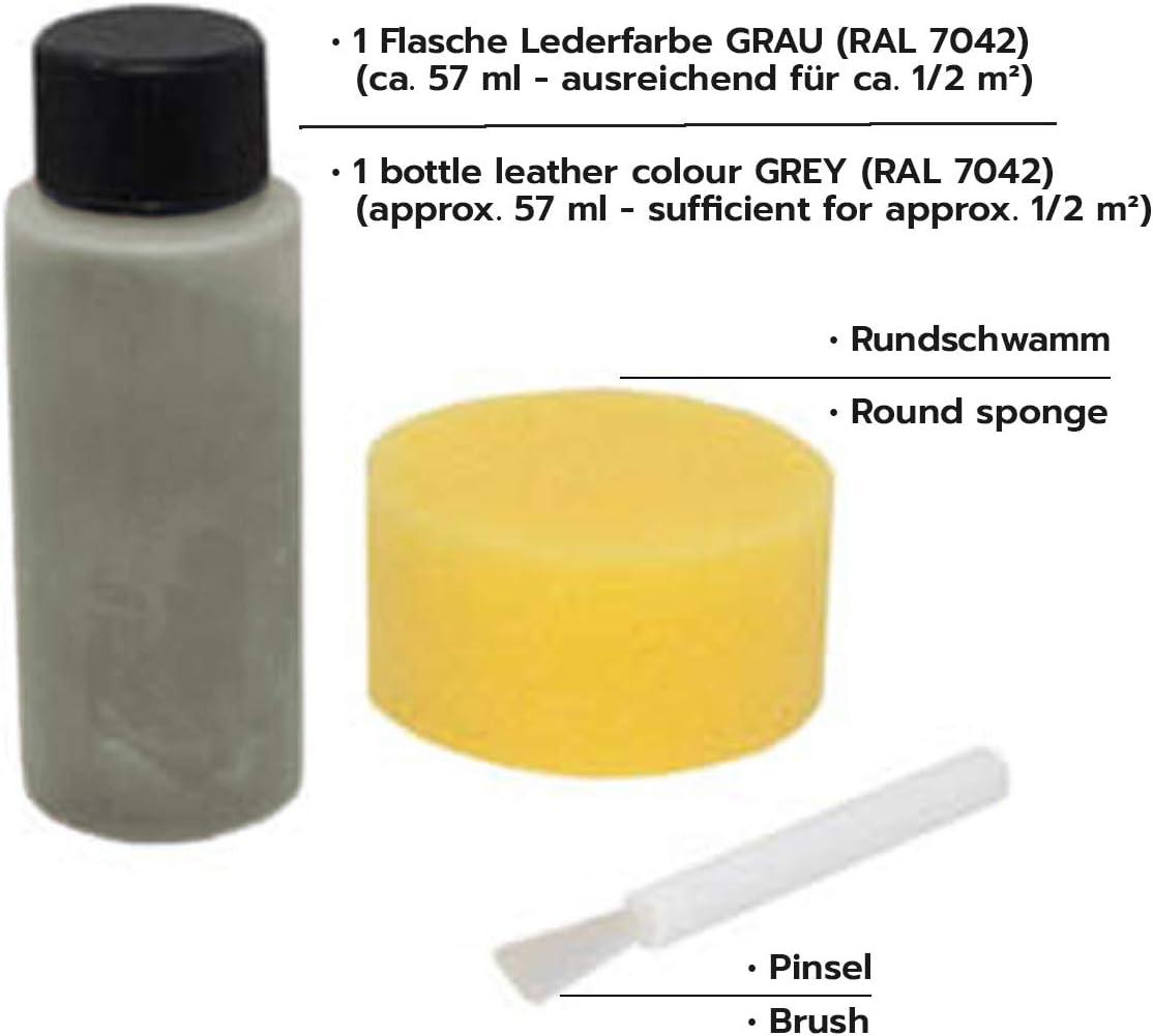 ATG Tinte reparador Cuero Set: restaurador tapiceria Cuero y Cuero sintético,Gris