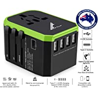 LE TILLAY Universal Travel Adapter 5.6A (MAX) - High Speed 2.4A -4 USB and 1 Type-C for AU US EU UK - International Power Adapter - Universal Travel Adapter - Worldwide All in One Plugs Converter Smart Charger AC Power Wall Plug for Worldwide 150+ Countries like Europe Asia Japan Australia Middle East India Israel Germany France Italy India Africa China Russia American British European Adapter