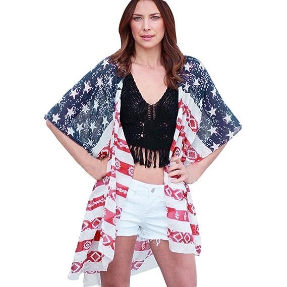 DEELIN Camisa Estampada De La Bandera Americana De Las Mujeres Camisa De La Rebeca Larga De
