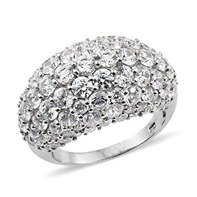 cd60c04e0 J FRANCIS Platinum Plated Sterling Silver Made with Swarovski® Zirconia  Cluster Ring for Women: Amazon.co.uk: Jewellery